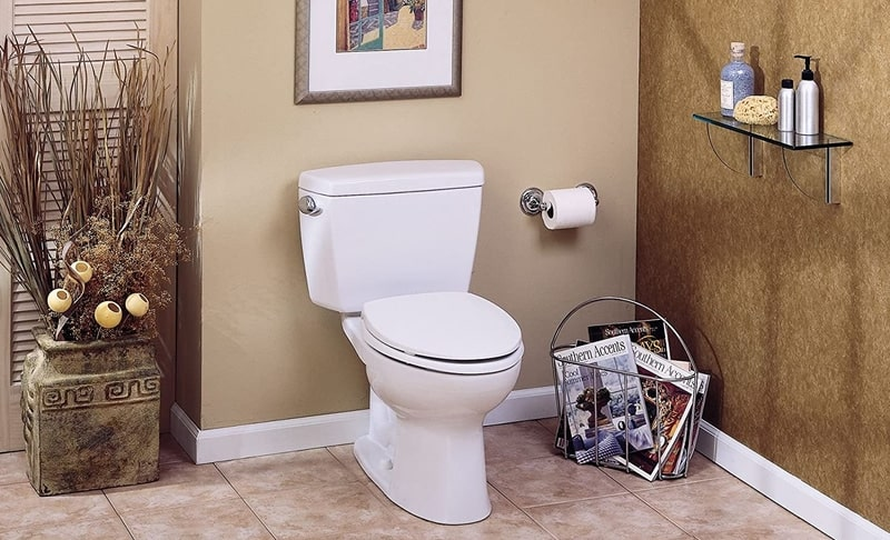 White Toto Toilet with Elongated Bowl