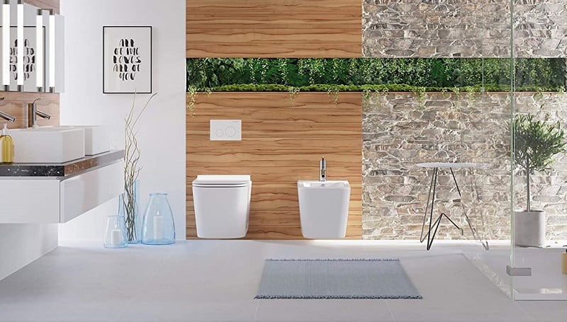 wall mounted toilet in the beautiful bathroom