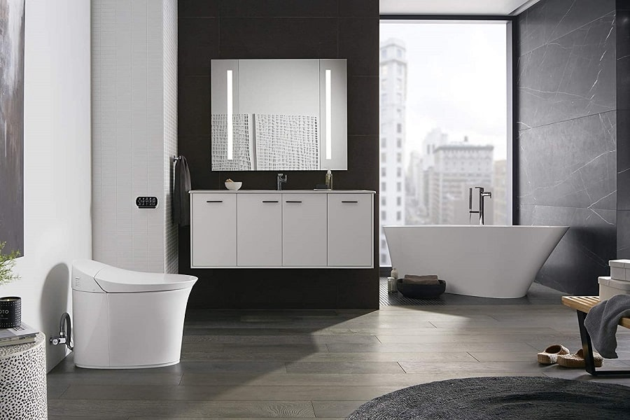 image of Kohler K-5401-PA-0 Veil Comfort Height Skirted One-Piece Elongated Dual-Flush Intelligent toilet, White