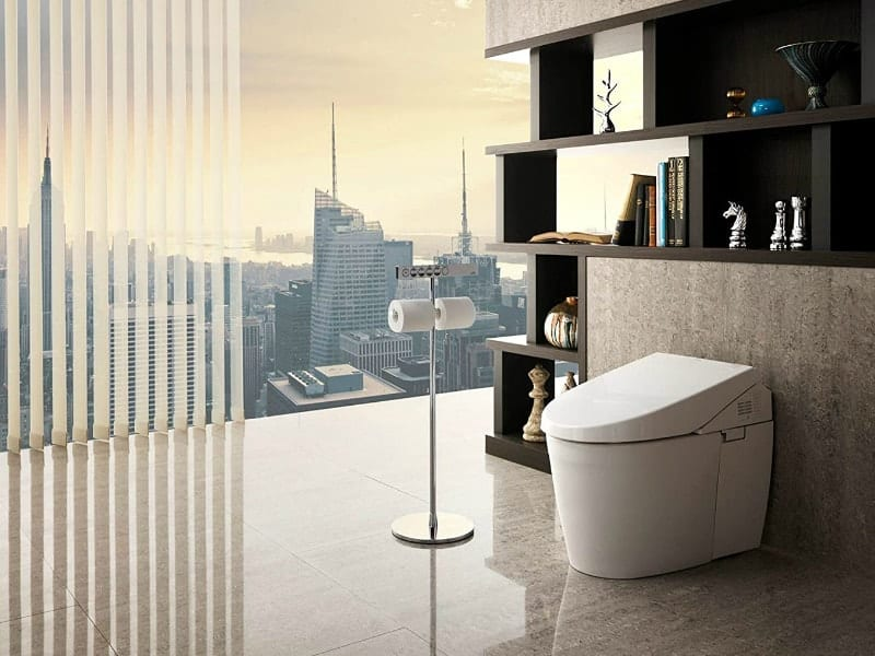 bidet toilet in the bathroom with a beatiful panorama city view