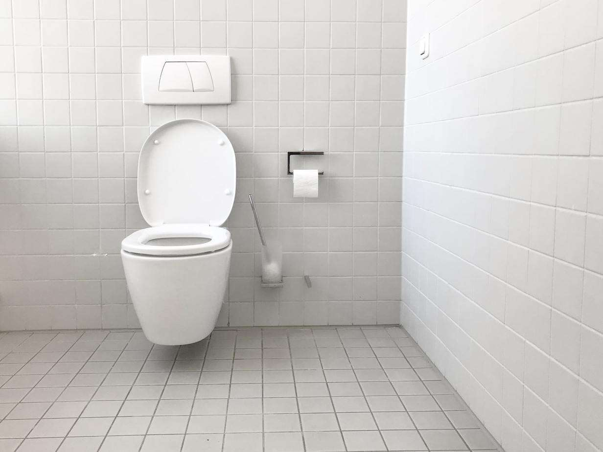 commercial toilet in a restroom